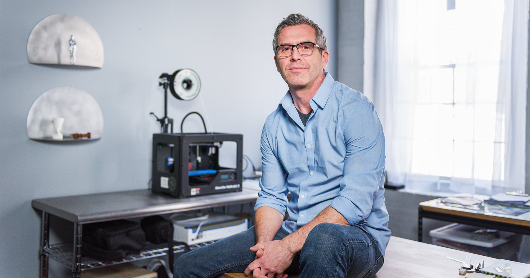 Michael Vickery, owner of the 3D printing service company 'STEAMfruit', photographed by Portland Headshot