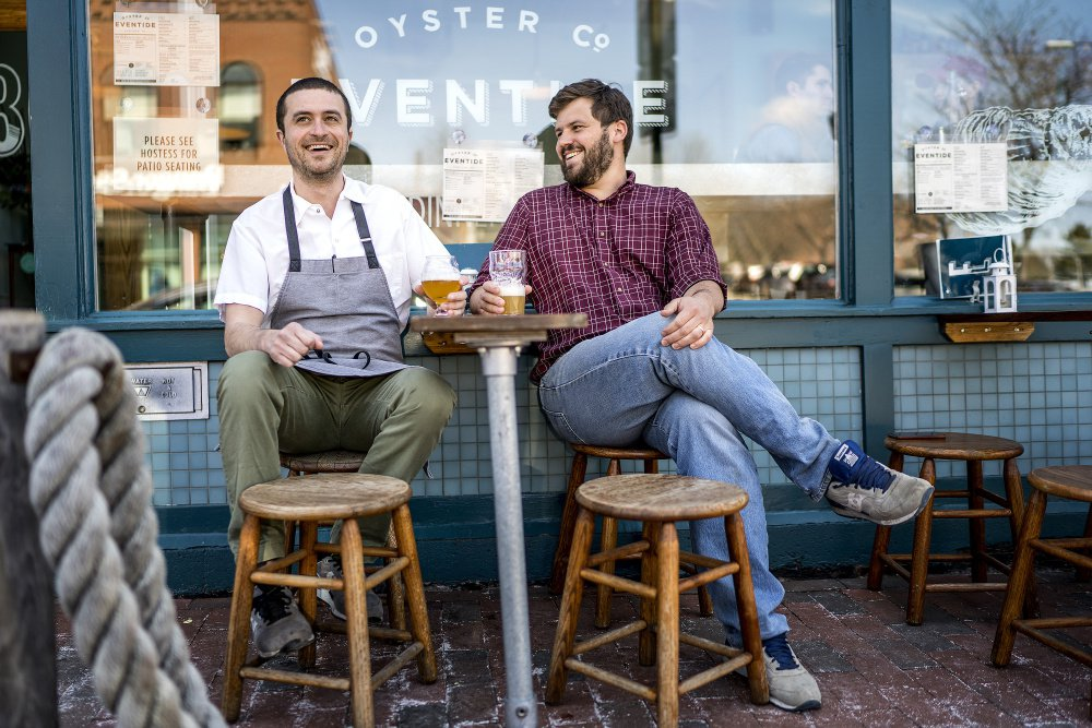 Mike Wiley and Andrew Taylor, shown in 2016 outside their Eventide Oyster Co. on Fore Street in Portland, have won the James Beard Award for Best Chef: Northeast, it was announced Monday. Gabe Souza/Staff Photographer of the Portland Press Herald.
